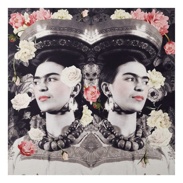 Alu-Dibond Bild - Frida Kahlo - Blumenflut