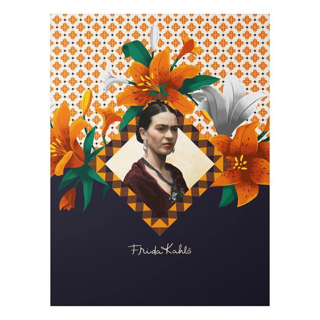 Alu-Dibond Bild - Frida Kahlo - Lilien