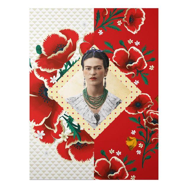 Alu-Dibond Bild - Frida Kahlo - Mohnblüten