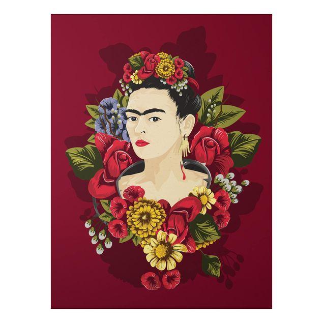 Alu-Dibond Bild - Frida Kahlo - Rosen