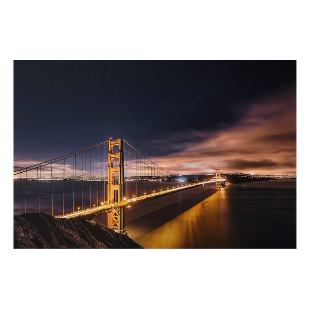 Alu-Dibond Bild - Golden Gate to Stars