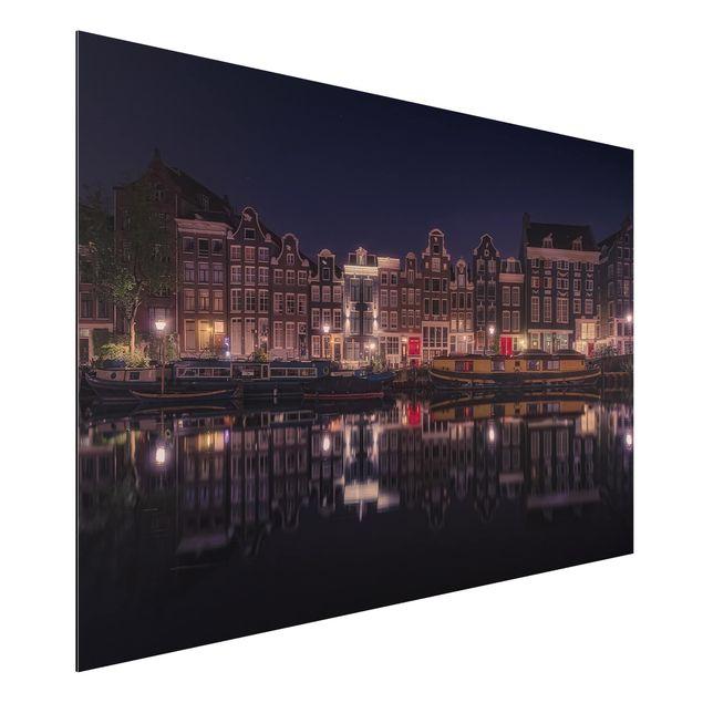 Alu-Dibond Bild - Hausboote in Amsterdam