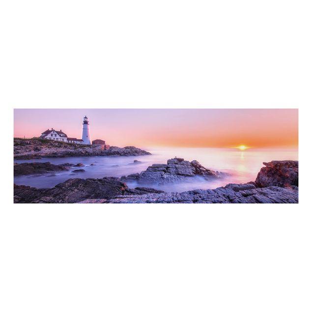 Alu-Dibond Bild - Leuchtturm am Morgen