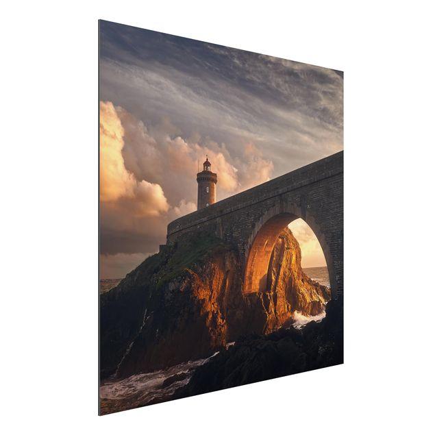 Alu-Dibond Bild - Leuchtturm an der Brücke