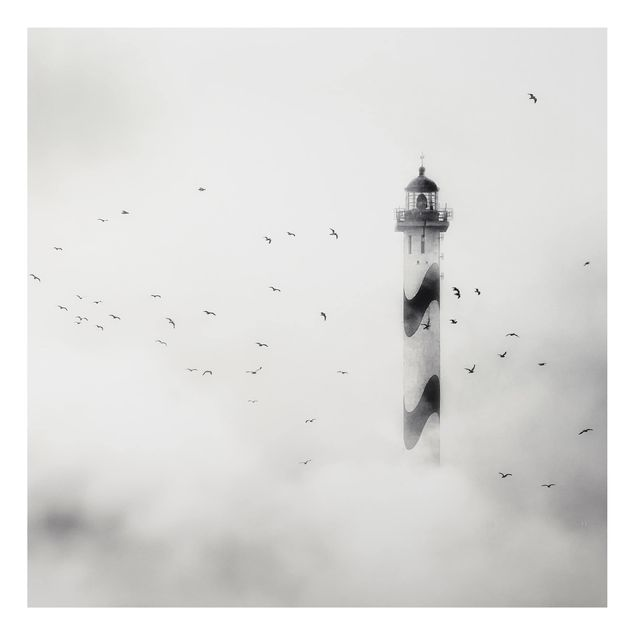 Alu-Dibond Bild - Leuchtturm im Nebel
