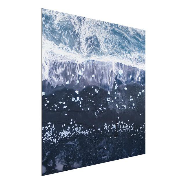 Aluminium Print - Luftbild - Jökulsárlón in Island - Quadrat 1:1