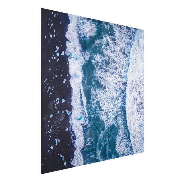 Aluminium Print - Luftbild - Jökulsárlón in Island vertikal - Quadrat 1:1