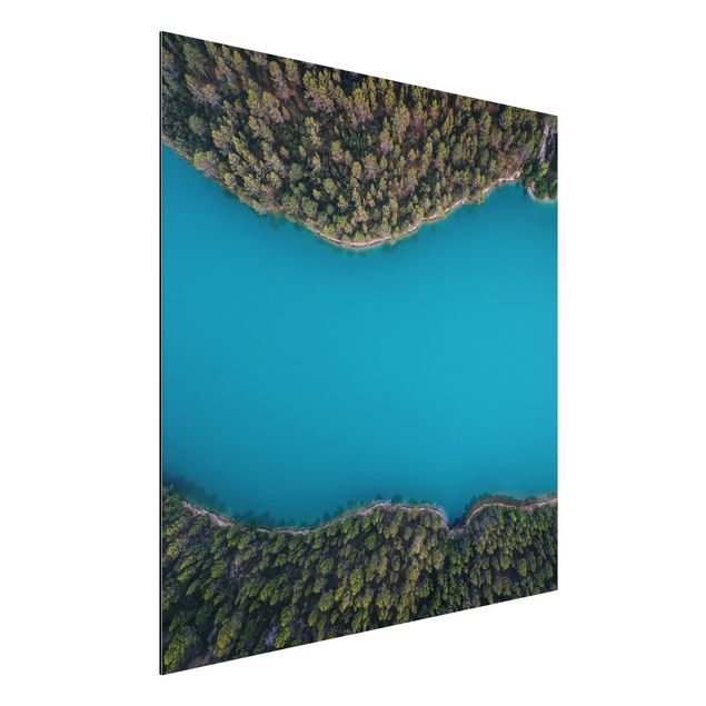 Aluminium Print - Luftbild - Tiefblauer See - Quadrat 1:1