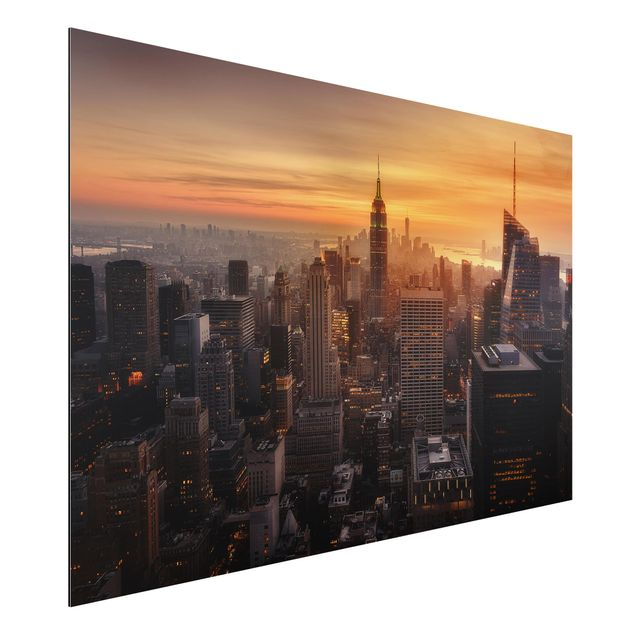 Aluminium Print - Manhattan Skyline Abendstimmung - Querformat 2:3