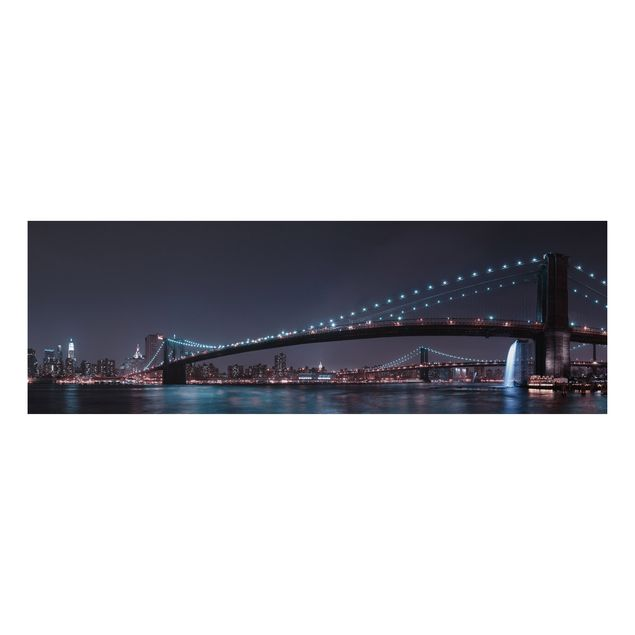 Alu-Dibond Bild - Manhattan Skyline und Brooklyn Bridge