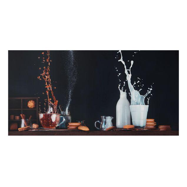 Alu-Dibond Bild - Milch und Tee Komposition