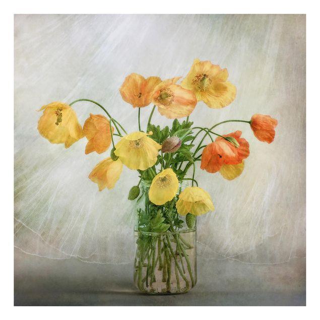 Alu-Dibond Bild - Mohnblumen in einer Vase