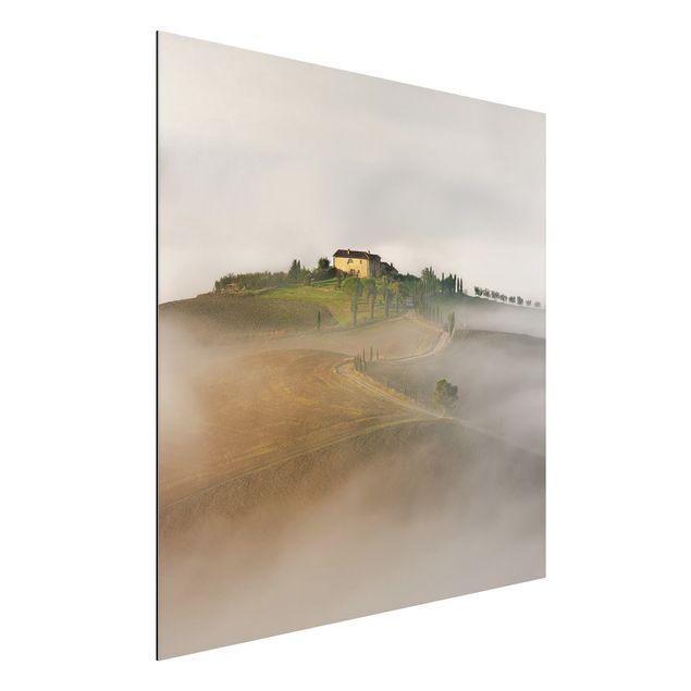 Alu-Dibond Bild - Morgennebel in der Toskana