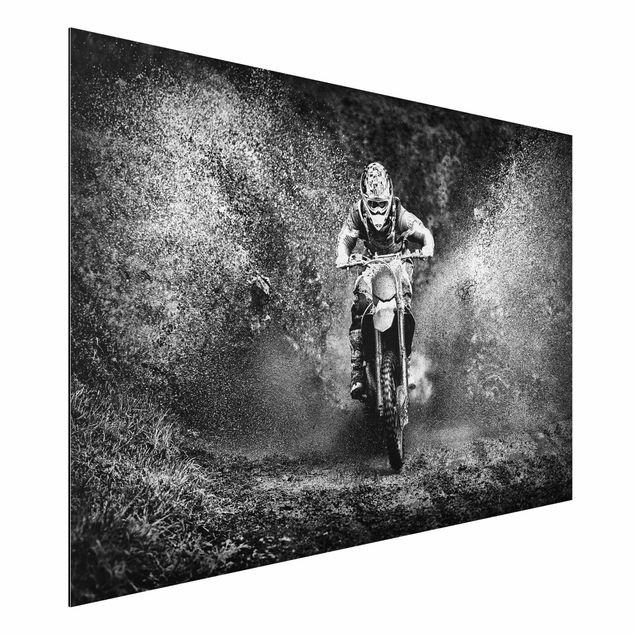 Alu-Dibond Bild - Motocross im Schlamm