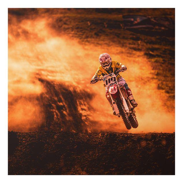 Alu-Dibond Bild - Motocross im Staub