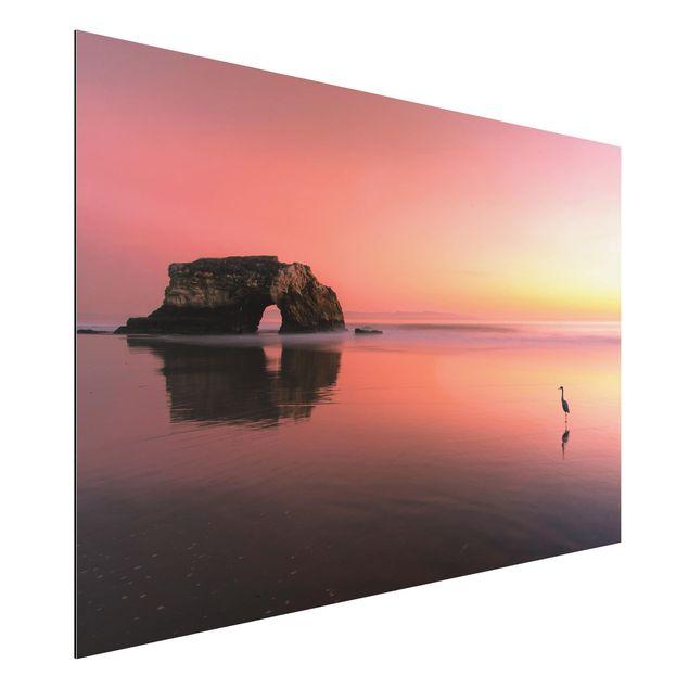 Alu-Dibond Bild - Natürliche Brücke im Sonnenuntergang