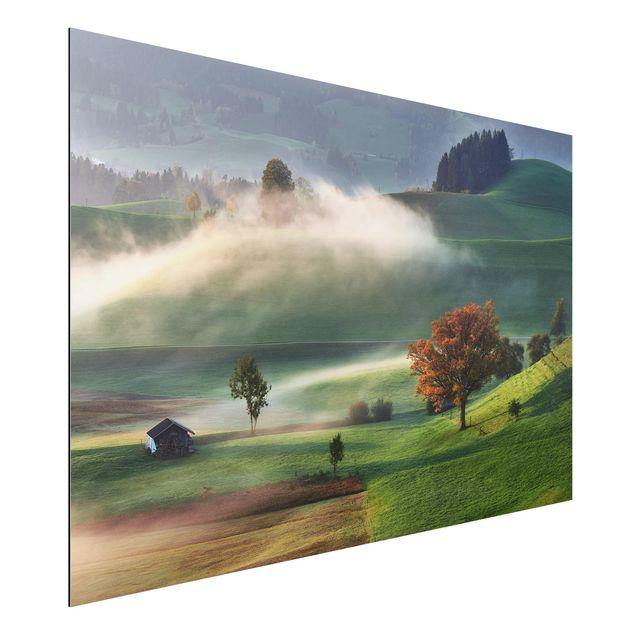 Aluminium Print - Nebliger Herbsttag Schweiz - Querformat 2:3