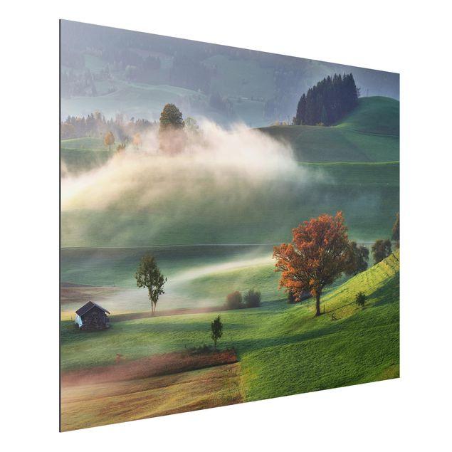 Aluminium Print - Nebliger Herbsttag Schweiz - Querformat 3:4