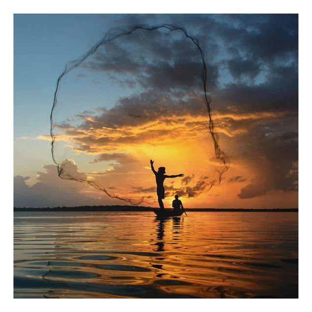 Alu-Dibond Bild - Netz im Sonnenuntergang