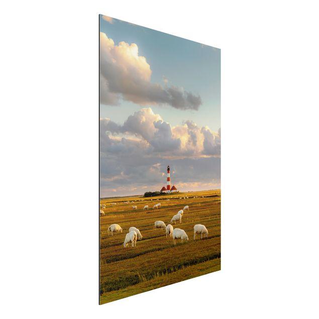 Alu-Dibond Bild - Nordsee Leuchtturm mit Schafsherde