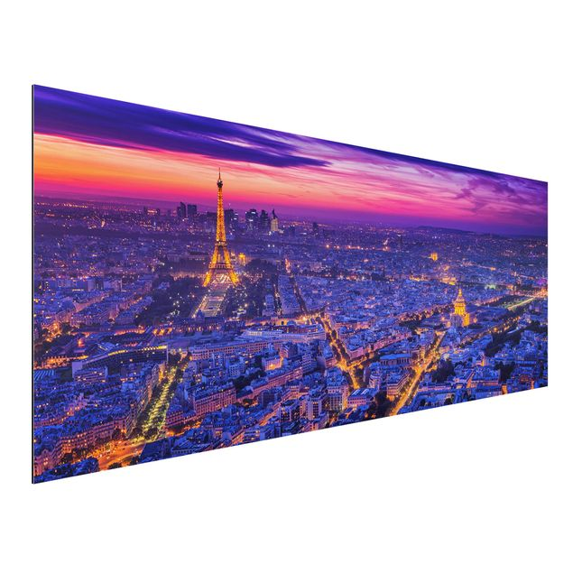 Aluminium Print - Paris bei Nacht - Panorama