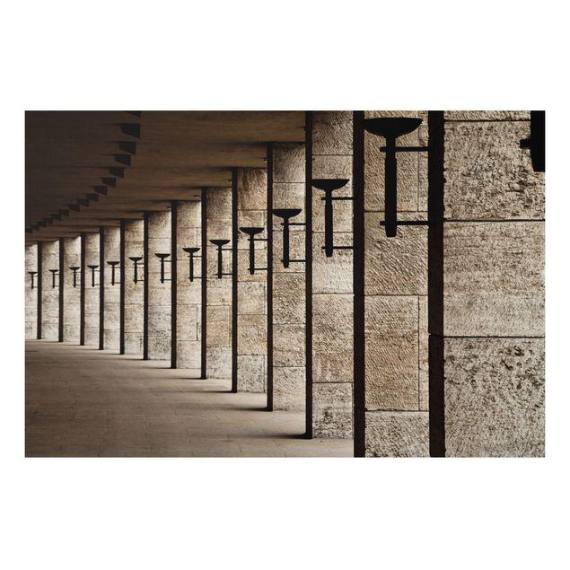Alu-Dibond Bild - Säulen mit Fackeln