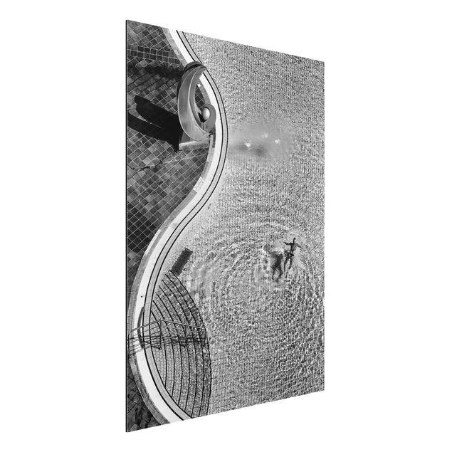 Aluminium Print - Schwimmbad Schwarz-Weiß - Hochformat 4:3