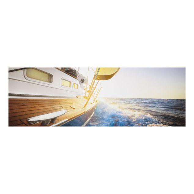 Alu-Dibond Bild - Segelboot auf blauem Meer bei Sonnenschein