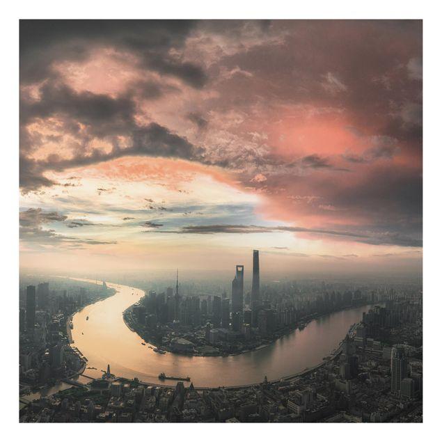 Aluminium Print - Shanghai am Morgen - Quadrat 1:1