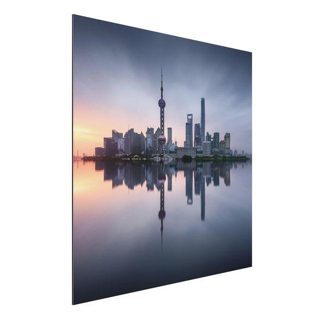 Aluminium Print - Shanghai Skyline Morgenstimmung - Quadrat 1:1