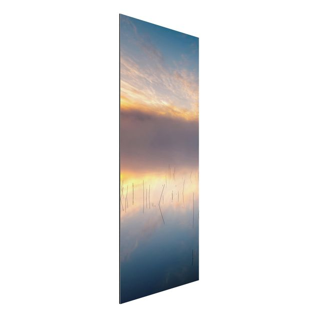 Aluminium Print - Sonnenaufgang schwedischer See - Panorama Hochformat