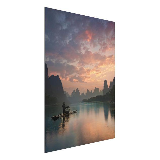 Aluminium Print - Sonnenaufgang über chinesischem Fluss - Hochformat 4:3