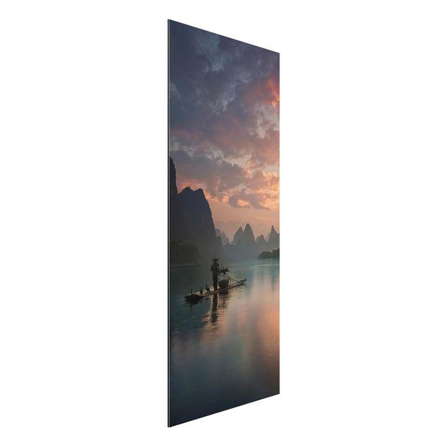 Aluminium Print - Sonnenaufgang über chinesischem Fluss - Panorama Hochformat