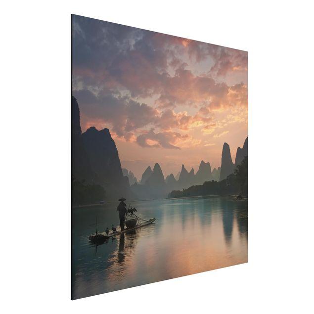 Aluminium Print - Sonnenaufgang über chinesischem Fluss - Quadrat 1:1