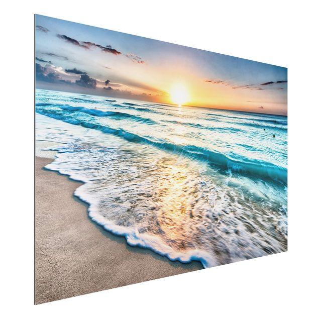 Alu-Dibond Bild - Sonnenuntergang am Strand