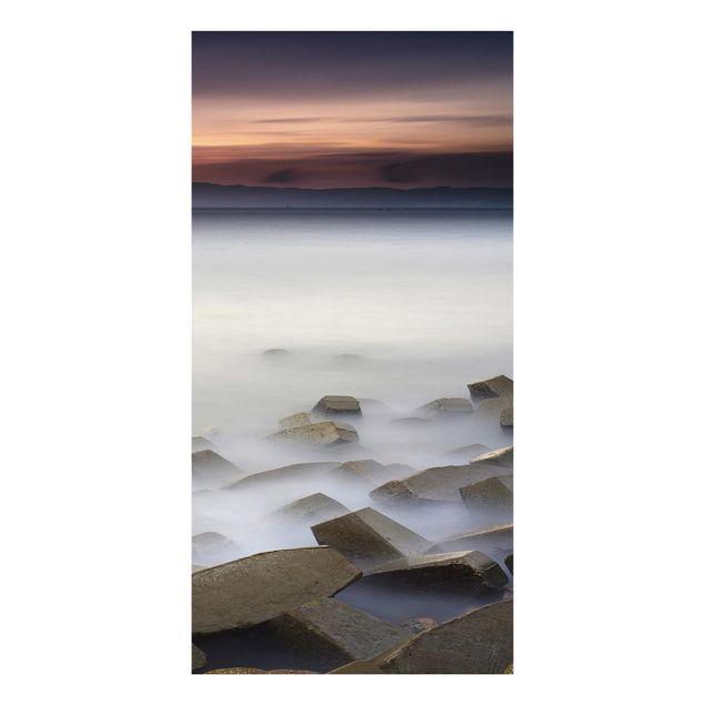 Aluminium Print - Sonnenuntergang im Nebel - Hochformat 2:1