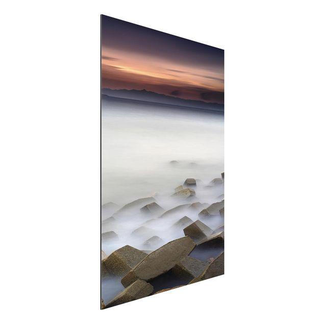 Aluminium Print - Sonnenuntergang im Nebel - Hochformat 3:2