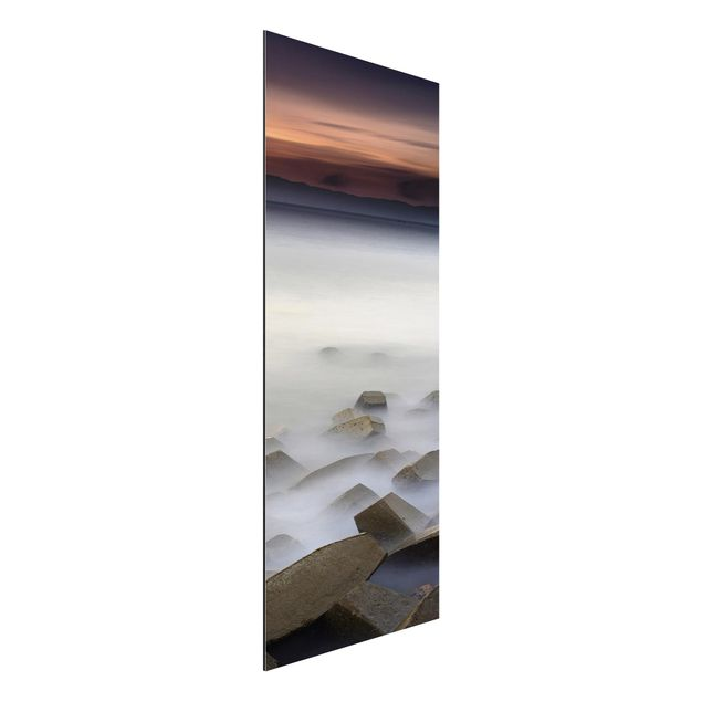 Aluminium Print - Sonnenuntergang im Nebel - Panorama Hochformat