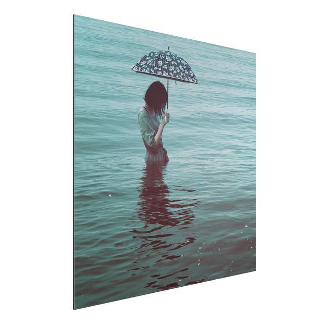 Aluminium Print - Spaziergang im Wasser - Quadrat 1:1