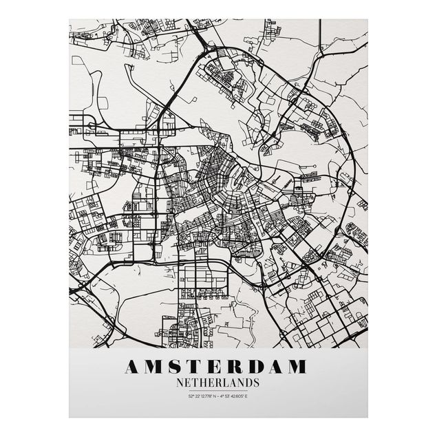 Alu-Dibond Bild - Stadtplan Amsterdam - Klassik