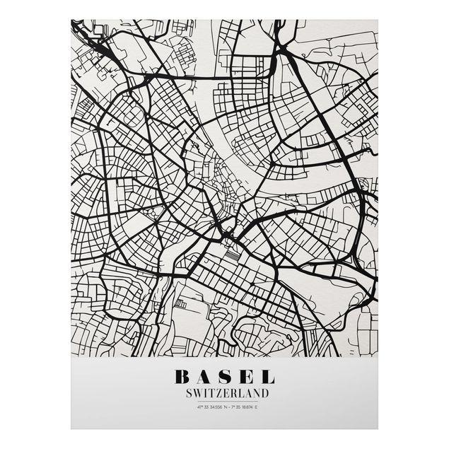 Alu-Dibond Bild - Stadtplan Basel - Klassik