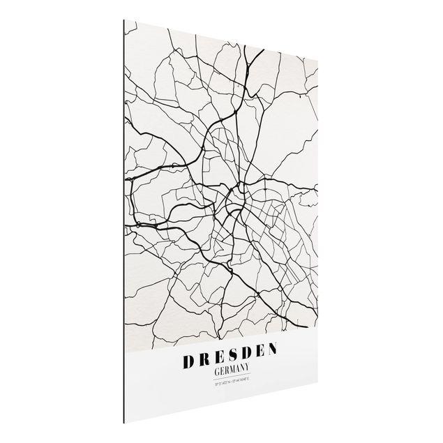 Alu-Dibond Bild - Stadtplan Dresden - Klassik