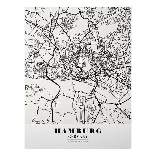 Alu-Dibond Bild - Stadtplan Hamburg - Klassik