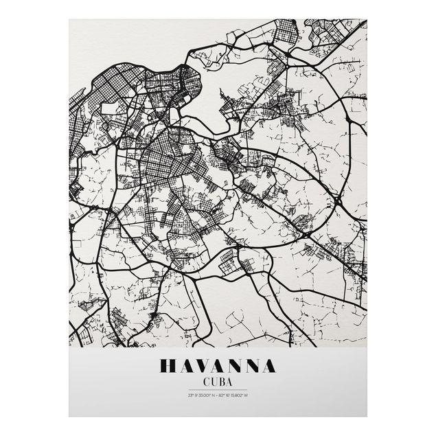 Alu-Dibond Bild - Stadtplan Havanna - Klassik