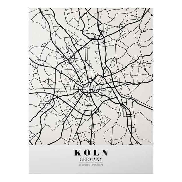 Alu-Dibond Bild - Stadtplan Köln - Klassik