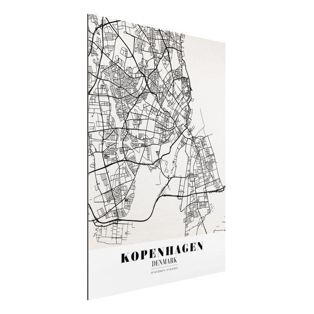 Alu-Dibond Bild - Stadtplan Kopenhagen - Klassik