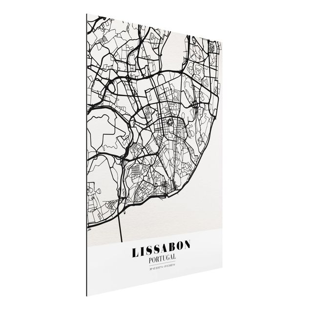 Alu-Dibond Bild - Stadtplan Lissabon - Klassik