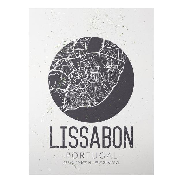 Alu-Dibond Bild - Stadtplan Lissabon - Retro
