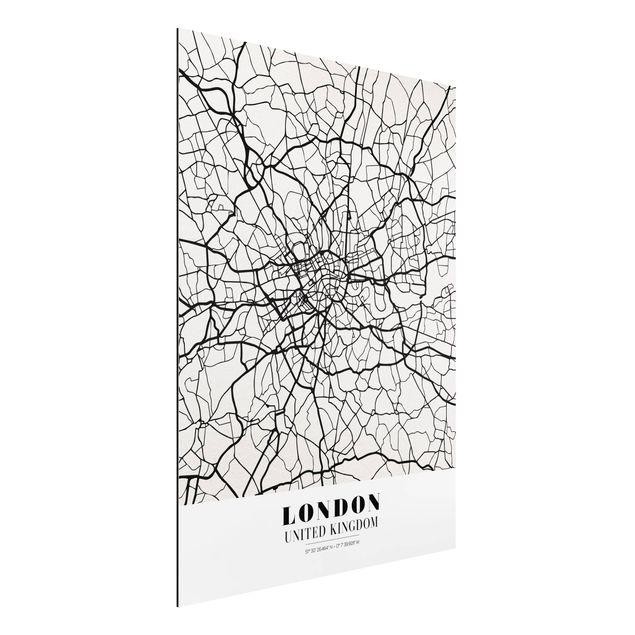 Alu-Dibond Bild - Stadtplan London - Klassik