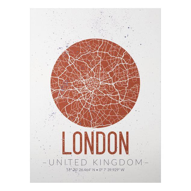 Alu-Dibond Bild - Stadtplan London - Retro